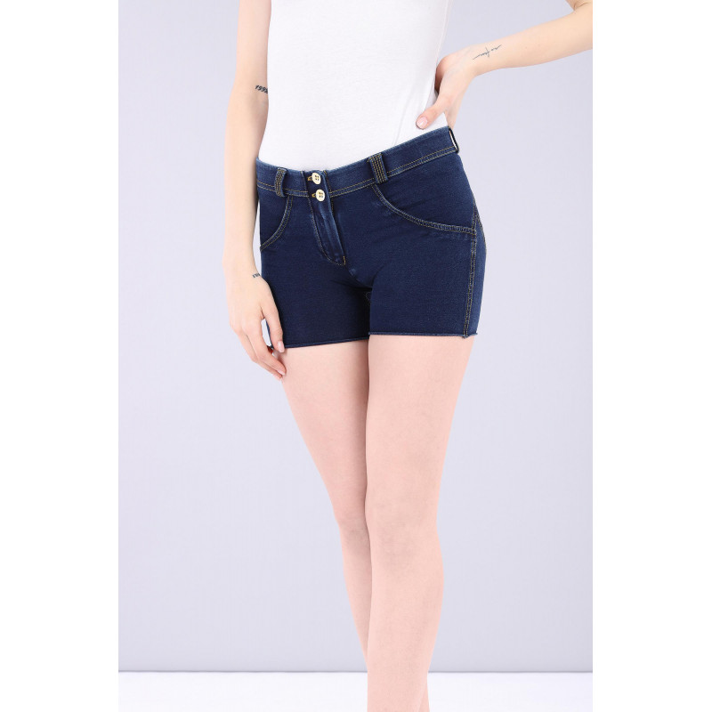 WR.UP® Denim Shorts - Regular Waist - Dark Denim - Yellow Seam - J0Y