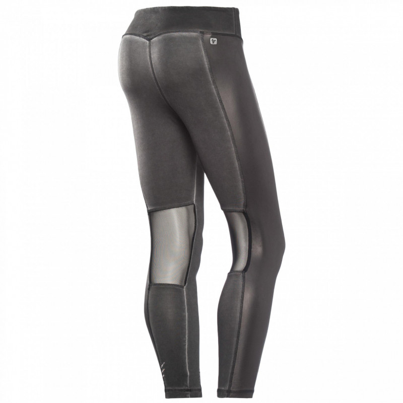 Leggings SUPERFIT - Regular Waist - 7/8 - Beschichtung in Lederoptik - Einsätze aus Nylon-Mesh