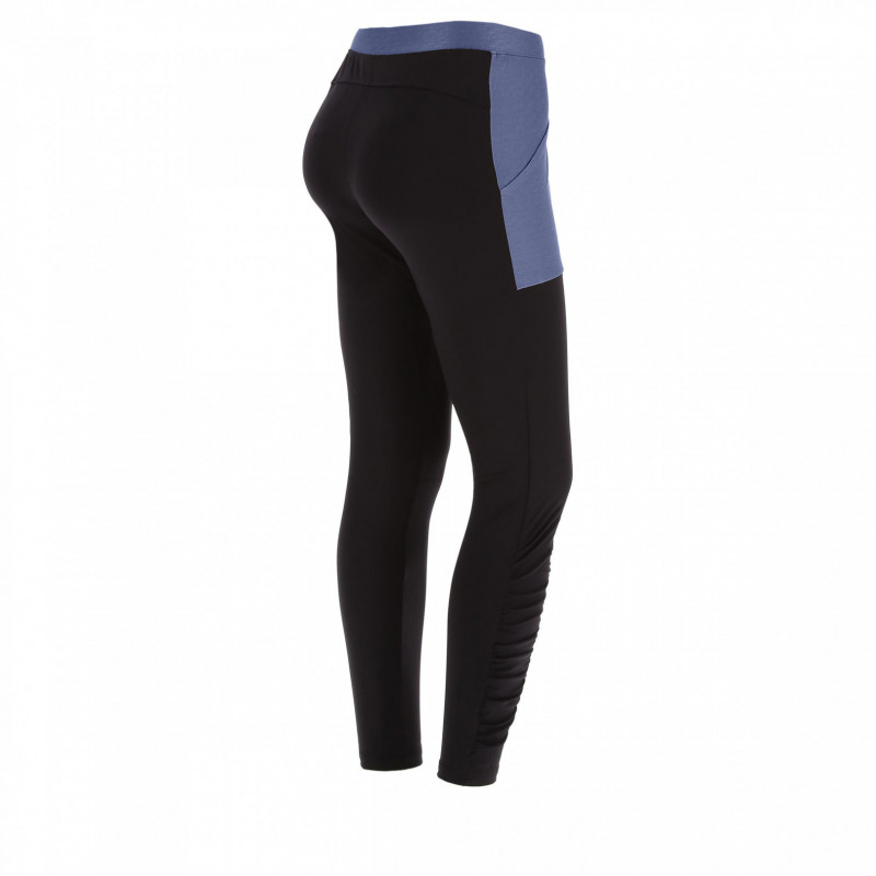 Leggings mit Taschen - Made in Italy - 7/8 - Black-Blue - NB104
