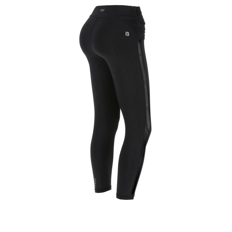 Leggings SUPERFIT - 7/8 mit schwarz glänzendem Kontraststreifen - Black - N0