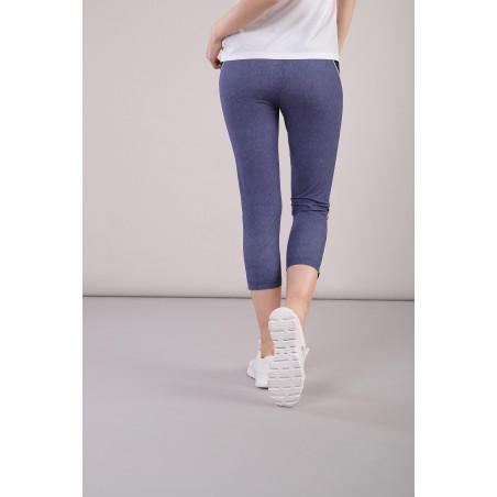 Yoga Leggings - aus Stretch-Jersey und Denim - Made in Italy - Dark Denim - Black - J0N0