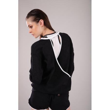 Yoga Jacquard-Shirt - V-Ausschnitt am Rücken - Made in Italy - Black - White - NW0
