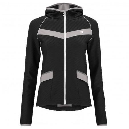 Yoga Sweatshirt - mit Kapuze - Made in Italy - Black – Frost Grey - NG370