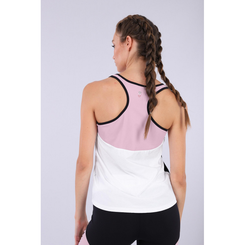 Ärmelloses Yoga Shirt - mit Racerback - Made in Italy - White - Black - Mauve Shadows - WNP0