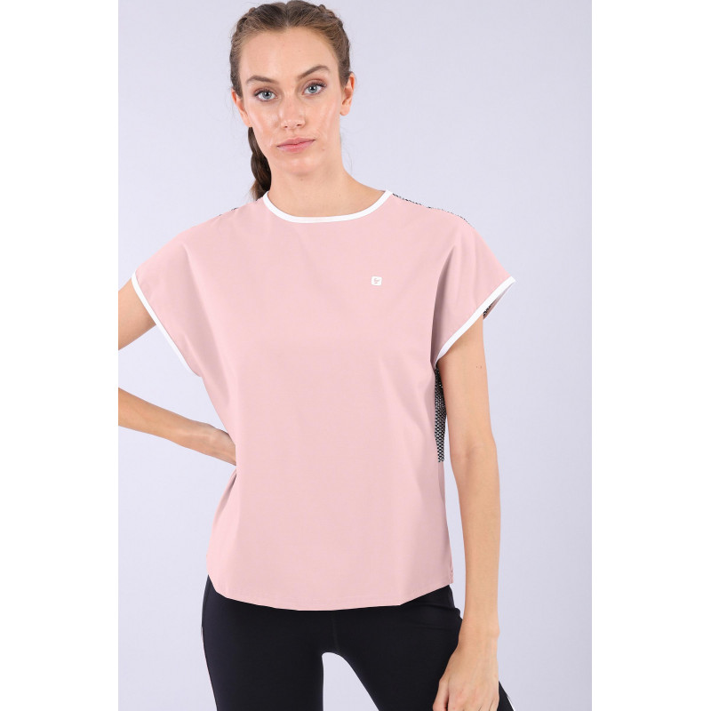 Yoga Shirt - mit Mesh und Bio D.I.W.O.® Stoff - Made in Italy - Mauve – Black – White - PNW0
