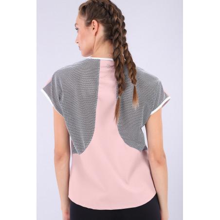 Yoga Shirt - mit Mesh und Bio D.I.W.O.® Stoff - Made in Italy - Mauve – Black – White - PNW0