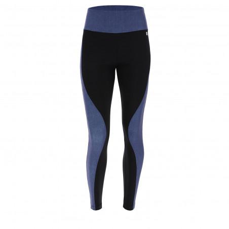 Yoga Leggings - aus Stretch-Jersey und Denim - Made in Italy - Black - Dark Denim - JN00