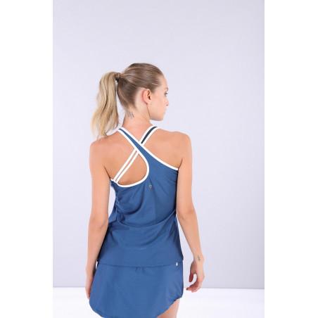 Ärmelloses Yoga Shirt - gekreutzte Träger - Made in Italy - Blue Ink - Blue - White - B107BW0