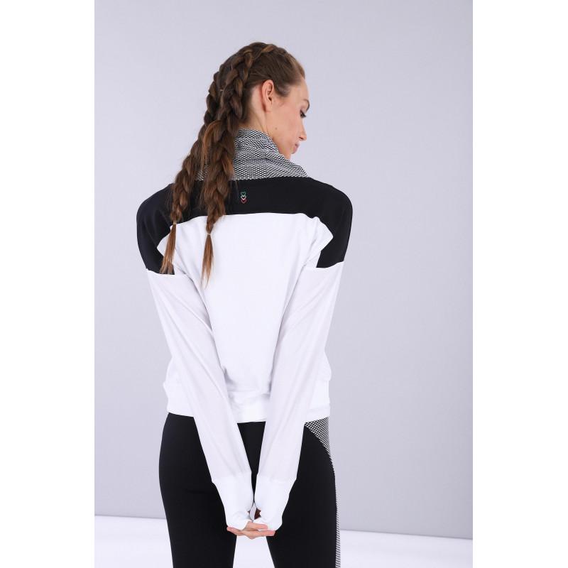 Yoga Sweatshirt - mit hohem Kragen - Made in Italy - White - Black - WN0