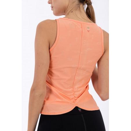 Ärmelloses Yoga Shirt - Asymmetrischer Saum - Made in Italy - Blooming Dahlia - V1110