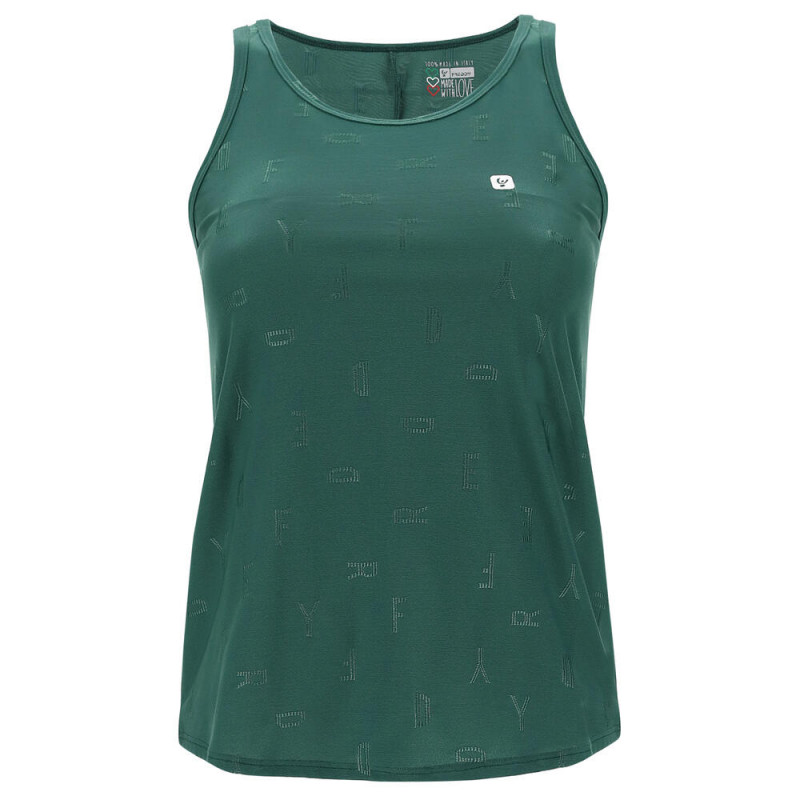 Ärmelloses Yoga Shirt - Asymmetrischer Saum - Made in Italy - Smoke Pine - V370