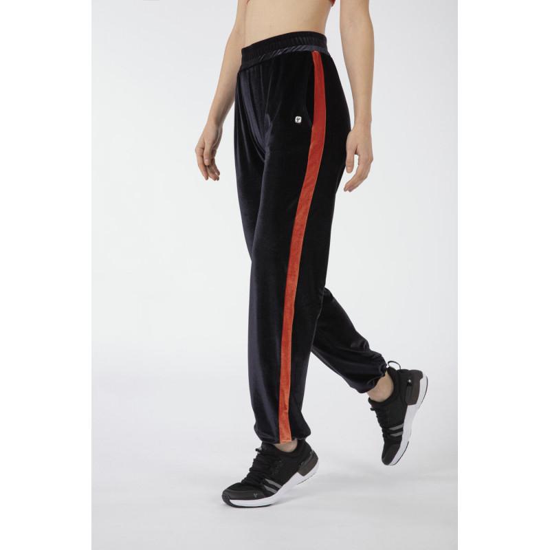 Weite Yoga Hose - aus Cehnille - Made in Italy - Black - Arabesque - NA1050