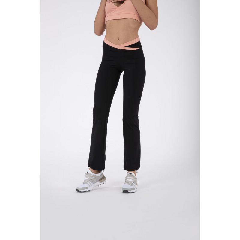 Yoga Leggings SUPERFIT - mit überkreutztem Bund - Made in Italy - Black - Blooming Dahlia - NP1110