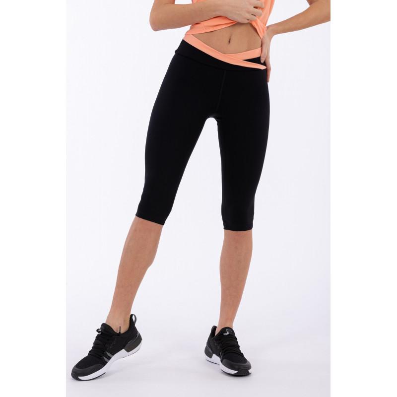 Yoga Leggings SUPERFIT - Corsair-Style - mit überkreutztem Bund - Made in Italy - Black - Blooming Dahlia - NP1110
