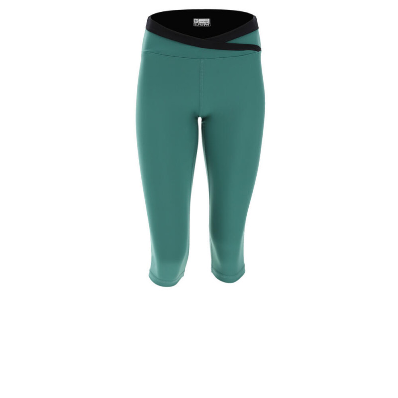 Yoga Leggings SUPERFIT - Corsair-Style - mit überkreutztem Bund - Made in Italy - Smoke Pine - Black - V37N0