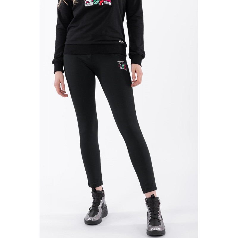 WR.UP® - 7/8 Regular Waist Skinny - mit LOVE-Aufnäher - Romero Britto Collection - Black - N0