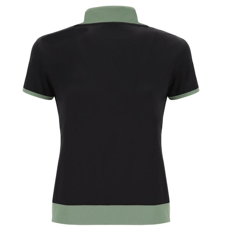 Kurzarm T-Shirt - mit Reißverschluß - Sea Spray - Black - V46N