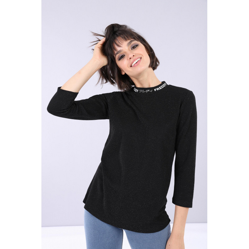 Slim-T-Shirt mit 3/4-Ärmeln - Lurex - Black - N0