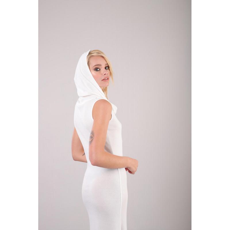 Ärmelloses Kleid - mit Kapuze - White - W25X