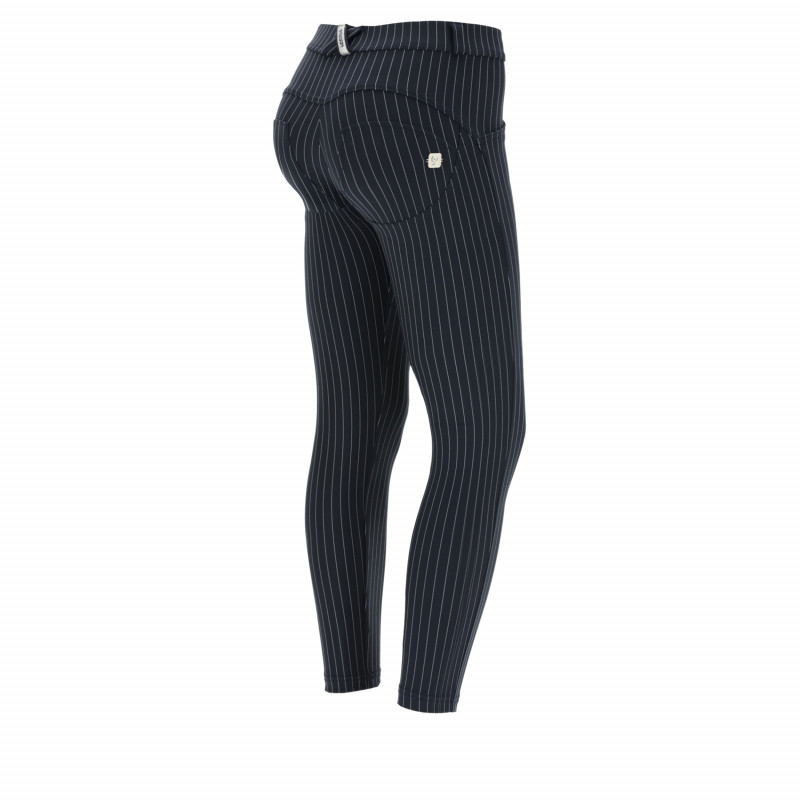 WR.UP® - 7/8 Regular Waist Super Skinny - Nadelstreifen-Design - Navy Blue - B940