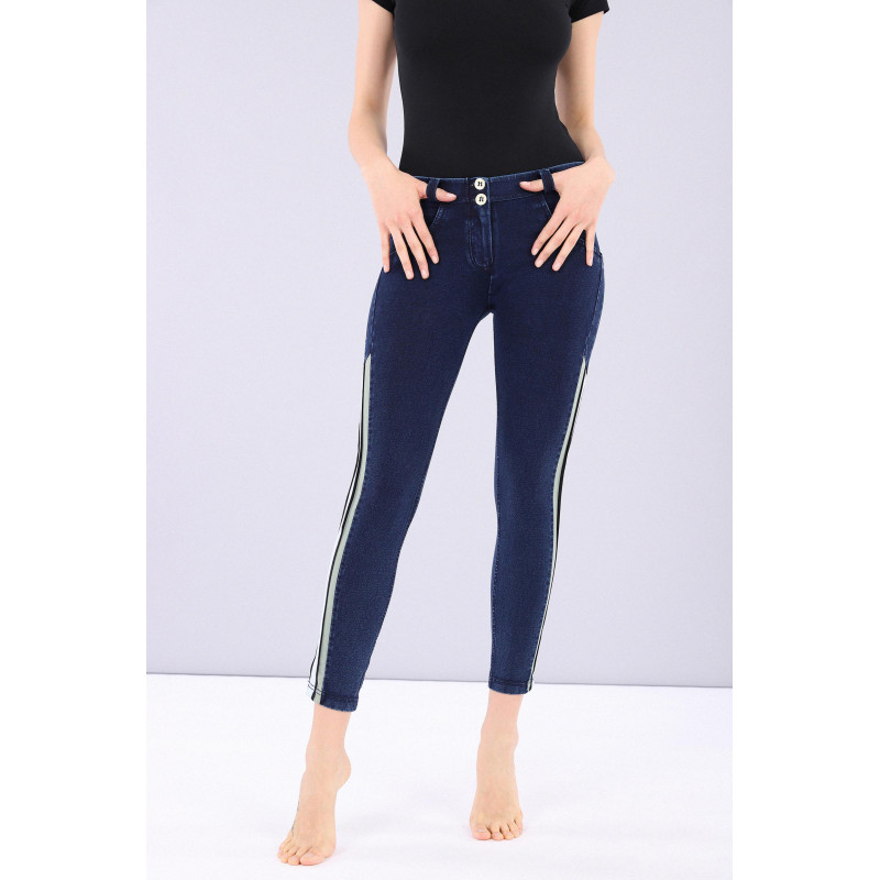 WR.UP® Denim - 7/8 Regular Waist Skinny - Kontraststreifen - Blue Denim - Blue Seam - J0B
