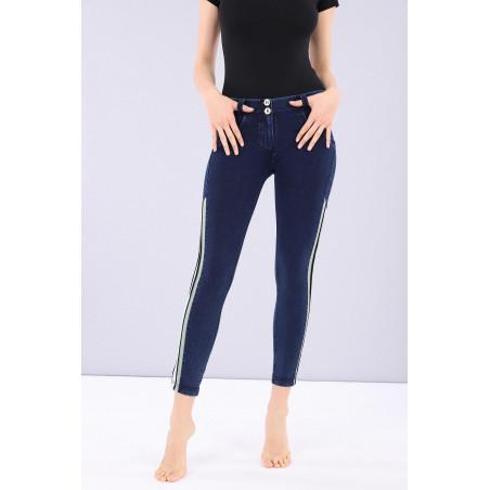 WR.UP® Denim - 7/8 Regular Waist Skinny - Kontraststreifen - Blue Denim - Blue Seam - J0B