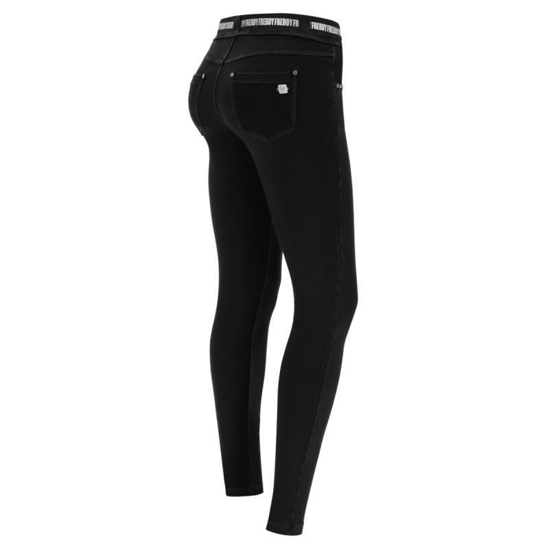 Leggings SUPERFIT - 7/8 - Black-Orange - NA99-