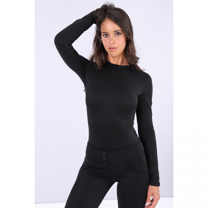Black Curve Hugging Long-Sleeve Bodysuit With a Bow - Black Lurex - NL