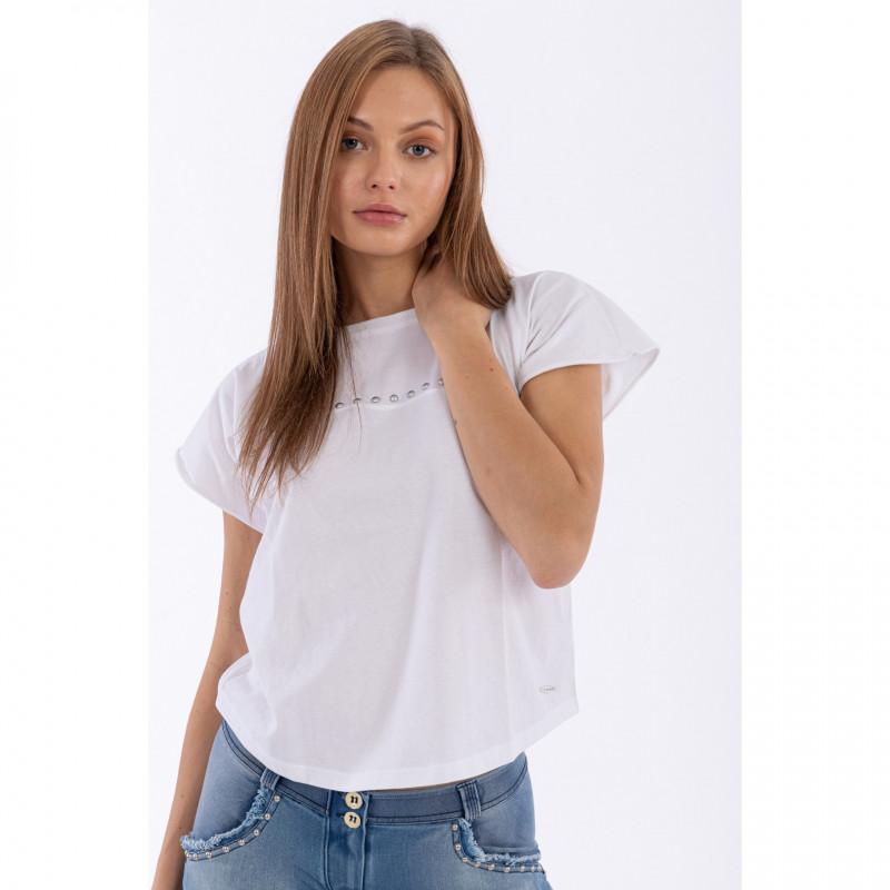 T-Shirt mit Cap Sleeves und Nieten - White - W