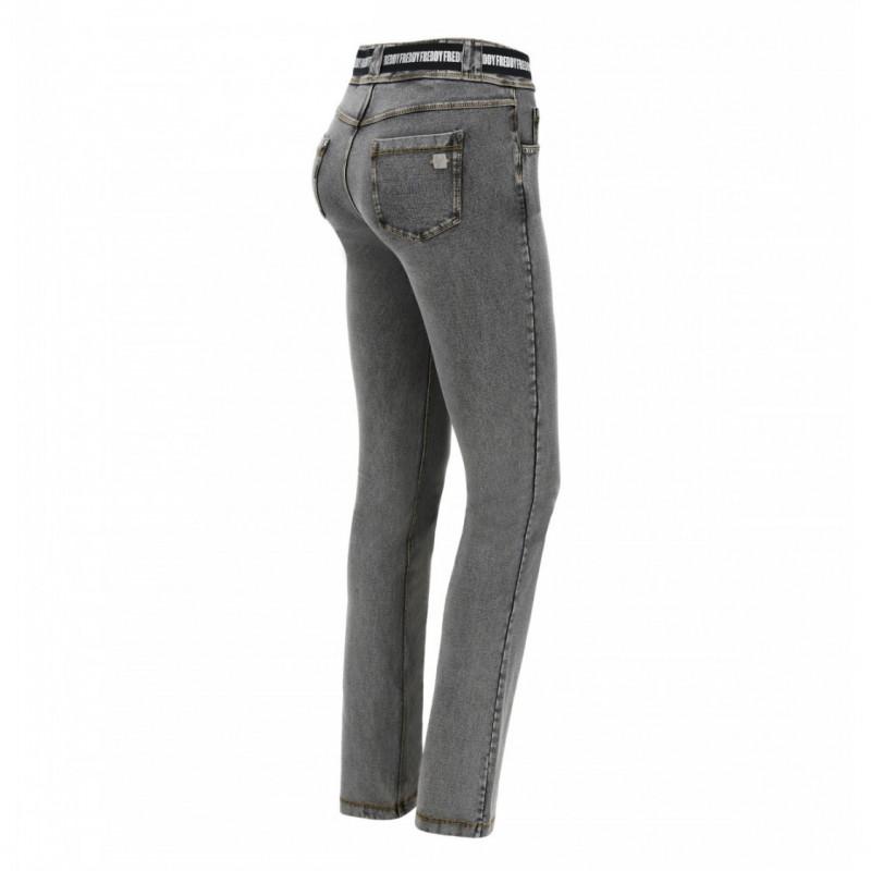 N.O.W.® Pants - Mid Waist Straight - Washed Grey - Yellow Seam - J3Y