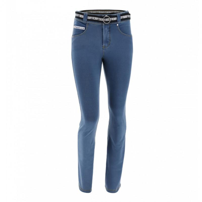 N.O.W.® Pants - Mid Waist Straight - Clear Denim - Yellow Seam - J4Y