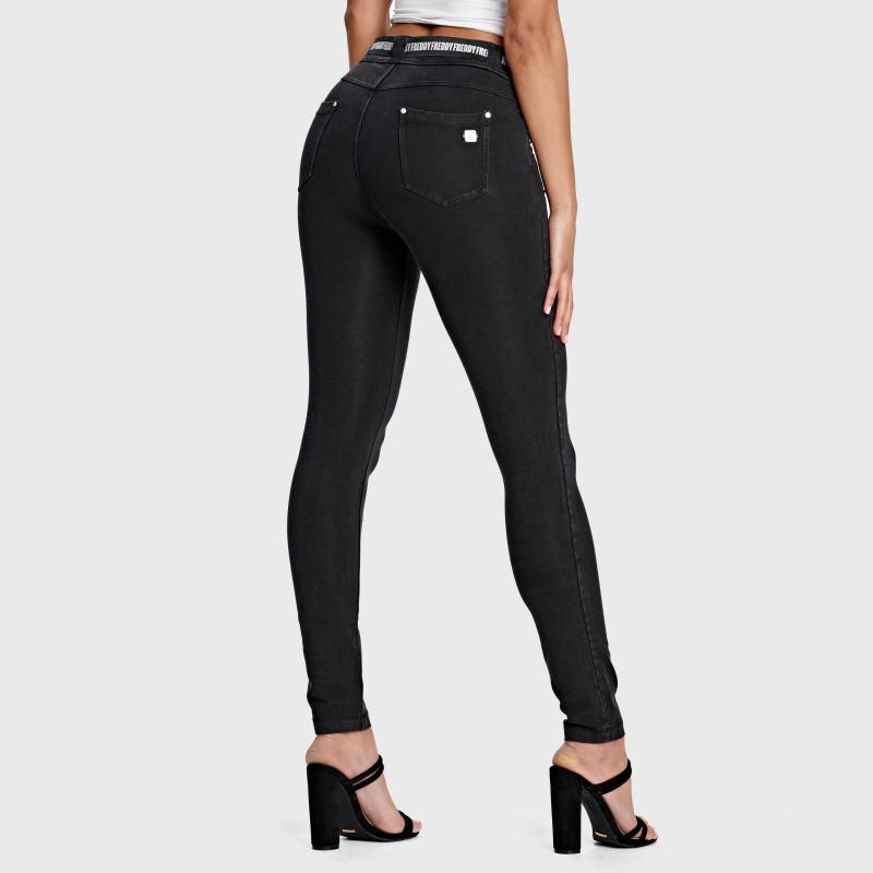 N.O.W.® Pants - Mid Waist Skinny - Black Denim – Black Seam - J7N