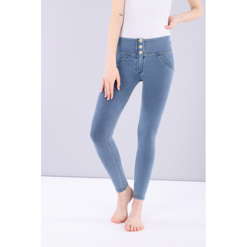 WR.UP® Denim - Mid Waist Skinny - Clear Denim - Yellow Seam - J4Y