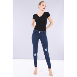 WR.UP® Denim - High Waist Skinny mit Denim-Effekt - J0B - Dark Denim - Blue Seam