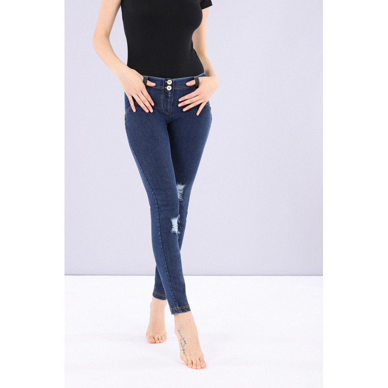 WR.UP® LOW WAIST SKINNY Denim effect - J7N - Black Denim - Black Seam