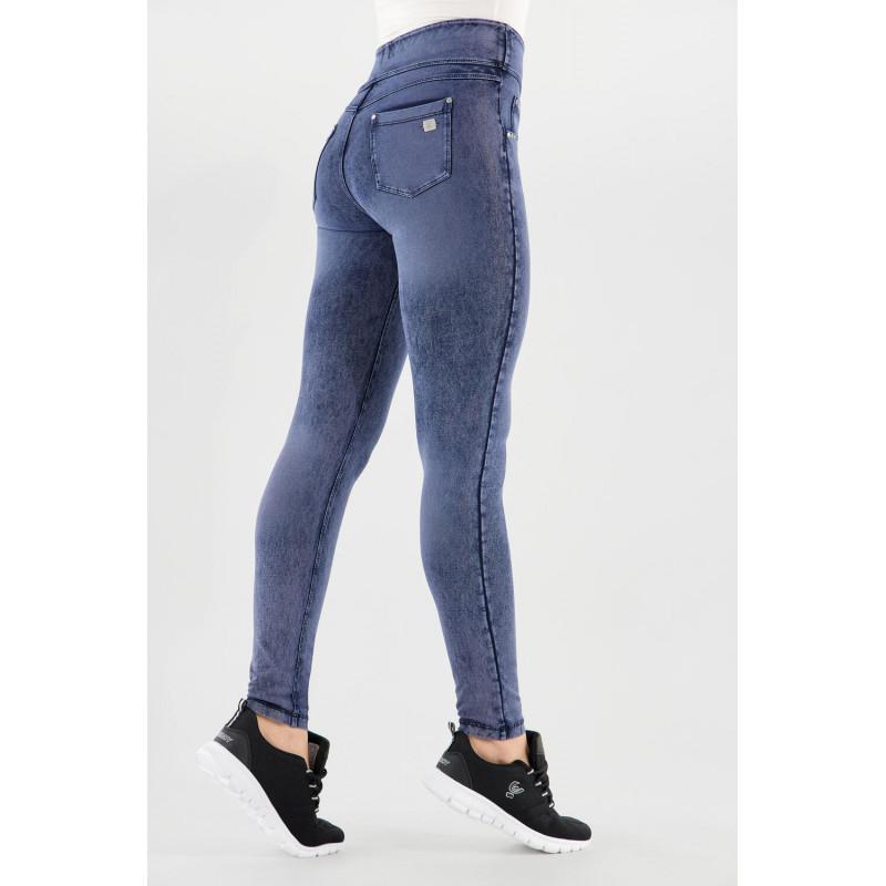 N.O.W.® Yoga - Skinny mit umschlagbarem Taillenbund - Marmor Optik - Denim Blue - J53B
