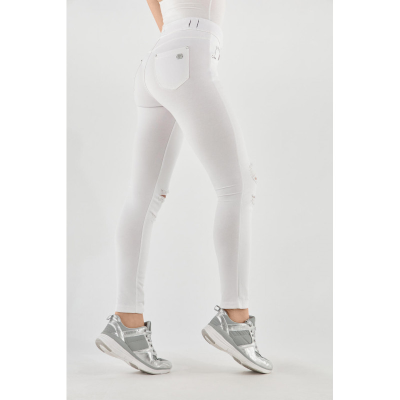 N.O.W.® Pants - Mid Waist Skinny - Distressed - White - W0