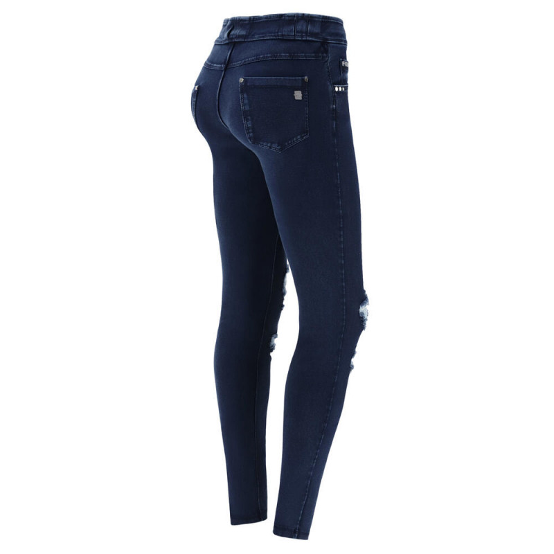 N.O.W.® Pants - Mid Waist Skinny - Destroyed - Dark Denim - Blue Seam - J0B