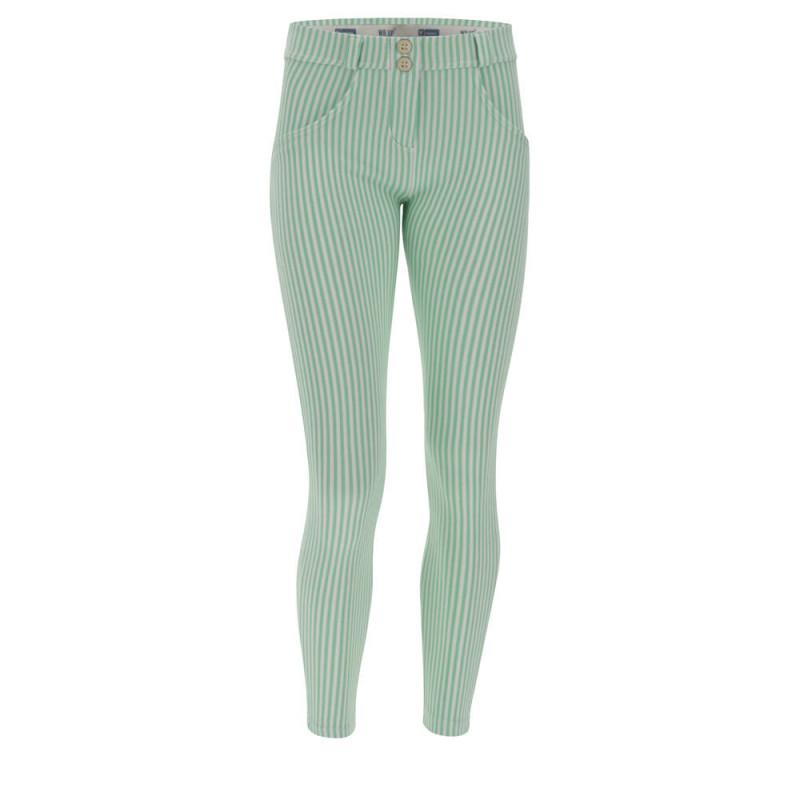 WR.UP® - 7/8 Regular Waist Super Skinny - Green Ash - White Stripes - D50W0