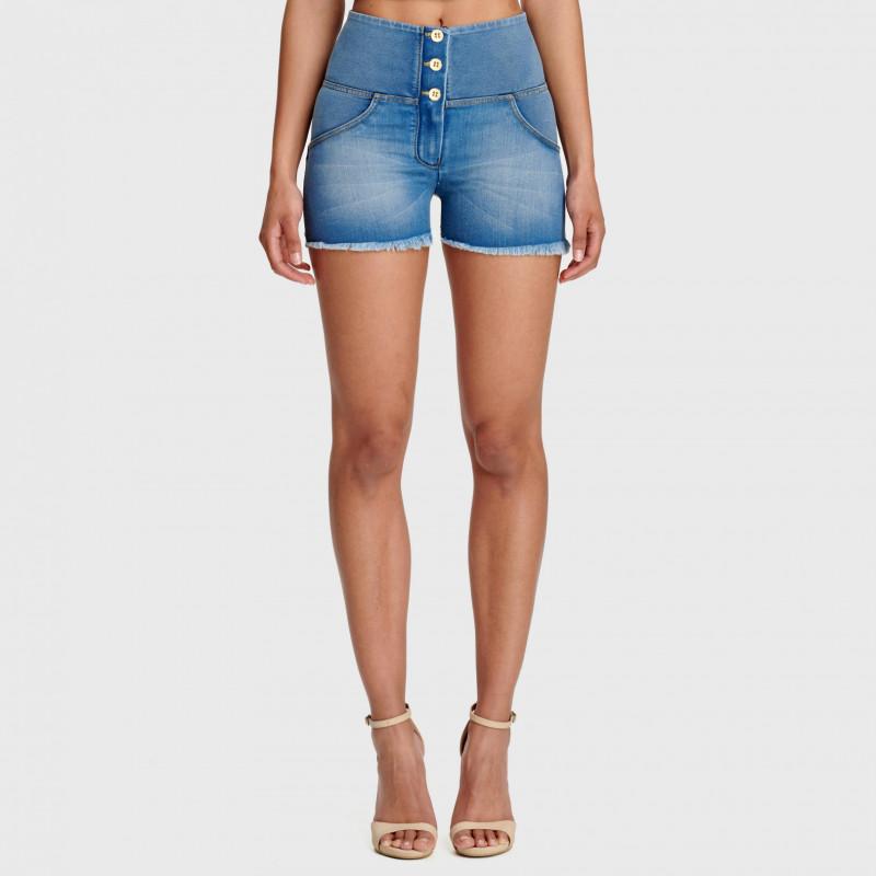 WR.UP® Denim Shorts - High Waist - Clear Denim - Yellow Seam - J4Y