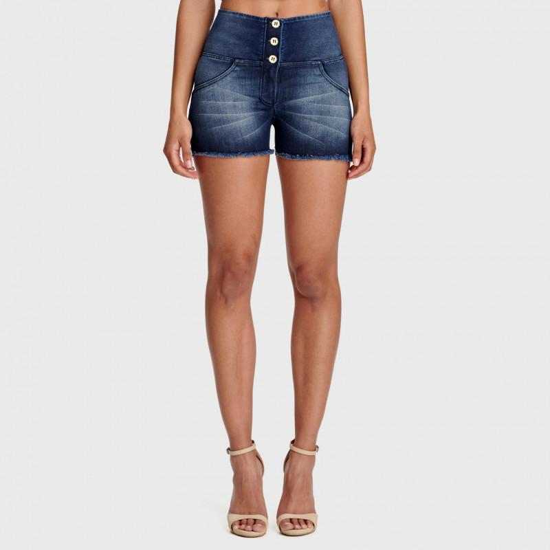 WR.UP® Denim Shorts - High Waist - Dark Denim - Blue Seam - J0B