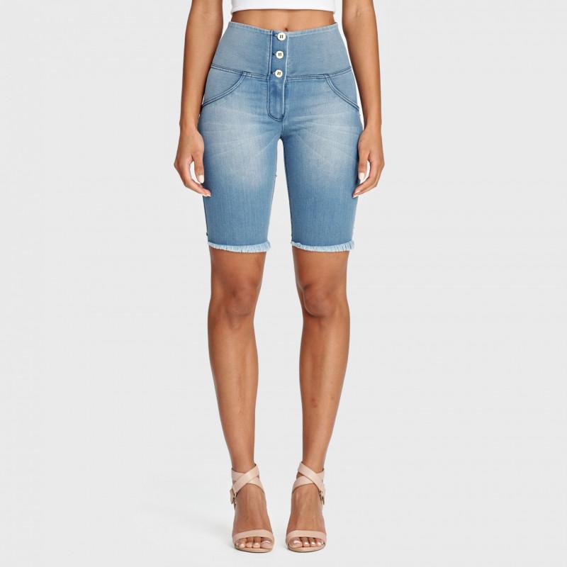 WR.UP® Denim Biker Shorts - High Waist - Clear Denim - Blue Seam - J4B