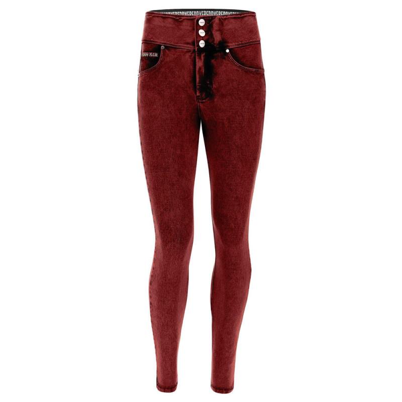 N.O.W.® Pants - High Waist Skinny - Marmor Optik - Denim Red - J74B