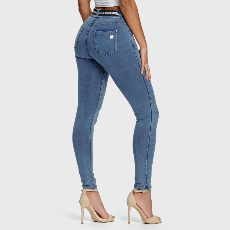 N.O.W.® Pants - Mid Waist Skinny - Clear Denim - Yellow Seam - J4Y
